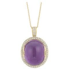 Goshwara Amethyst Oval Cabochon and Diamond Pendant