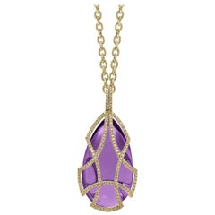 Goshwara Amethyst Pear Shape Drop and Diamond Cage Pendant