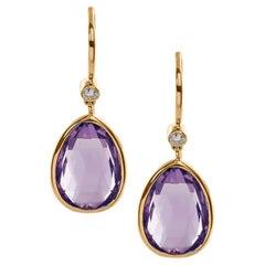 Goshwara Amethyst Pear Shape with Diamonds on Wire Earring