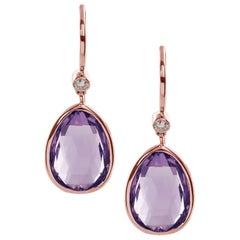 Goshwara Amethyst Pear Shape with Diamonds on Wire Earrings