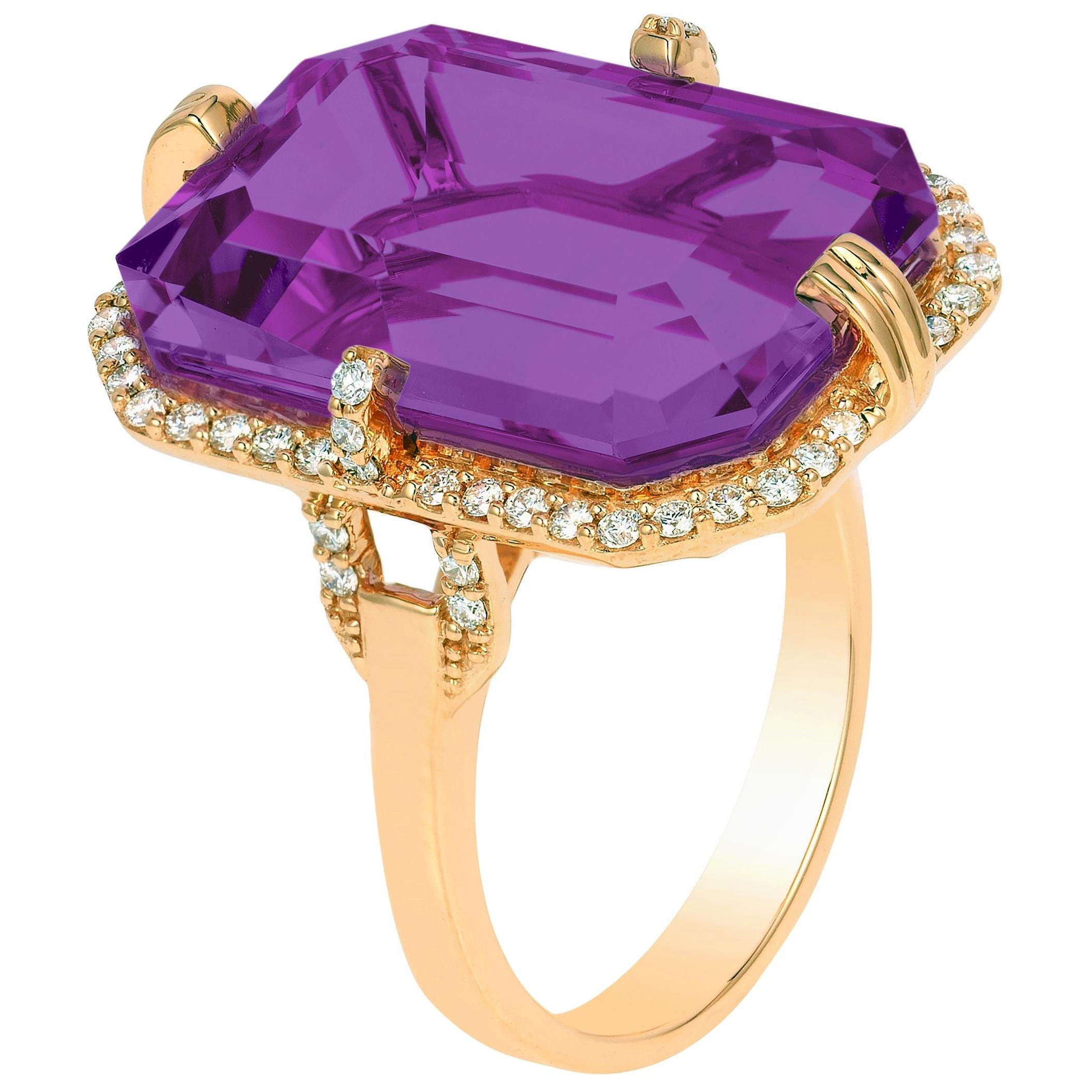 Goshwara Amethyst with Diamonds Ring