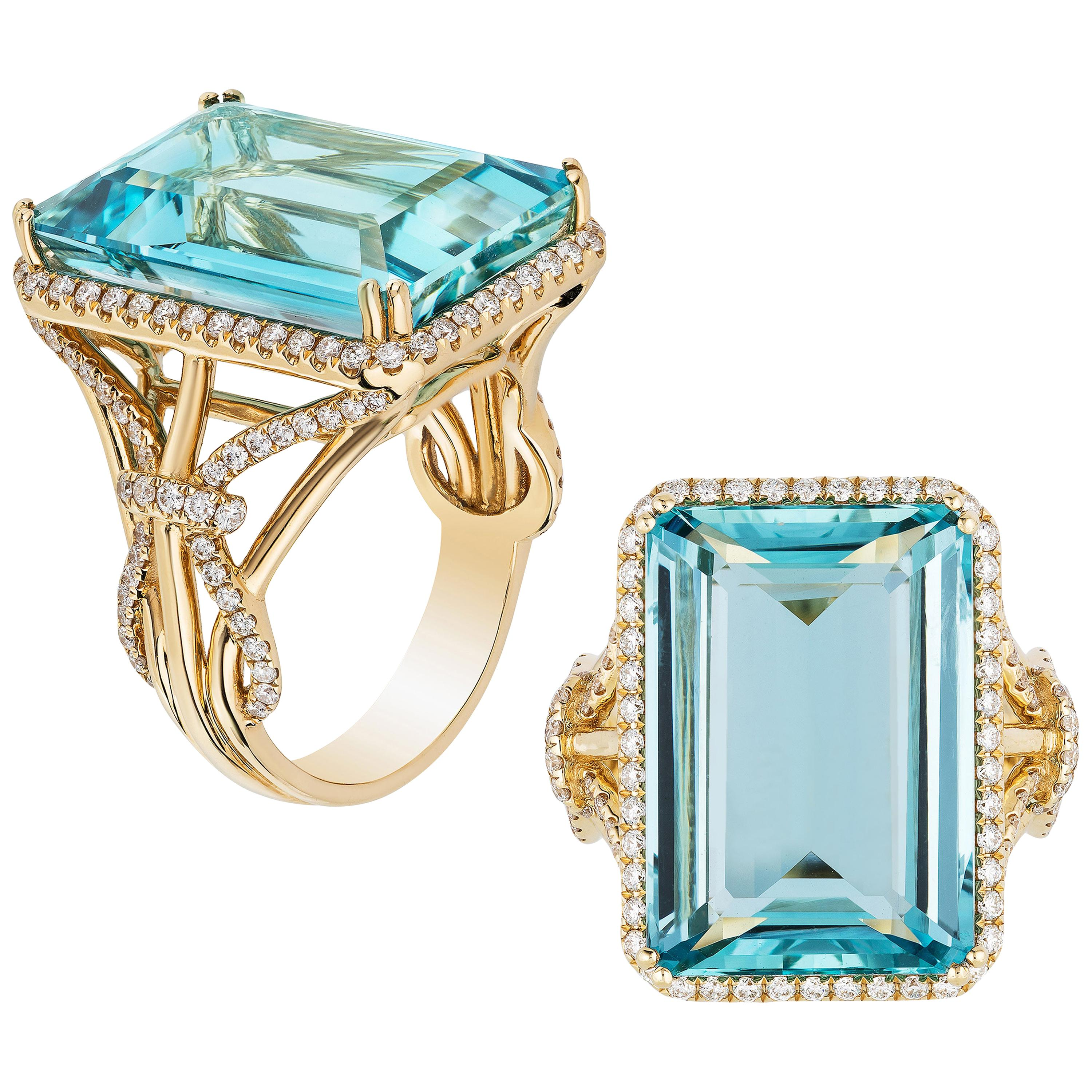 Goshwara Aqua Emerald Cut with Diamonds Ring
