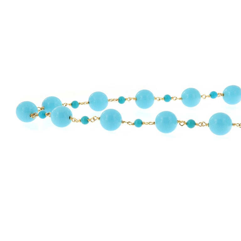"""Goshwara """"Beyond"""" Natural Sleeping Beauty Turquoise Beaded Chain Necklace In New Condition In Troy, MI"""
