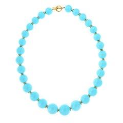 "Goshwara ""Beyond"" Sleeping Beauty Natural Turquoise Beaded Necklace"