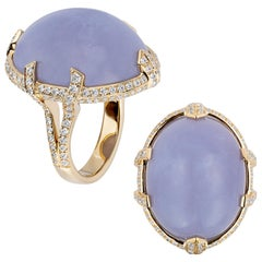 Goshwara Blue Chalcedony Cabochon with Bow Prong Diamonds Ring