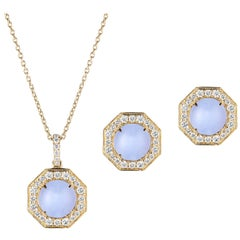 Goshwara Blue Chalcedony Cabochon with Diamond Pendant and Earrings