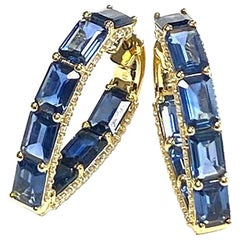 Goshwara Blue Sapphire Emerald Cut Heart Shape with Diamonds Hoops Earrings
