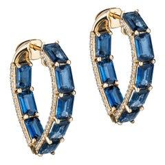Goshwara Blue Sapphire Emerald Cut Heart Shape with Diamonds Hoops Earrings
