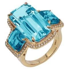 Goshwara Blue Topaz 3 Stone Cushion with Diamonds Ring