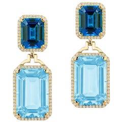 Goshwara Blue Topaz and London Blue Topaz Emerald Cut Earrings