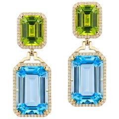 Goshwara Blue Topaz and Peridot Emerald Cut with Diamond Earrings