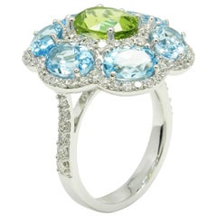 Goshwara Blue Topaz and Peridot Ring