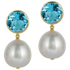 Goshwara Blue Topaz Bezel Set with Pearl Earrings