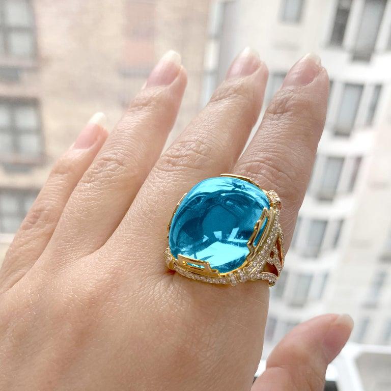 Contemporary Goshwara Blue Topaz Crown Ring For Sale