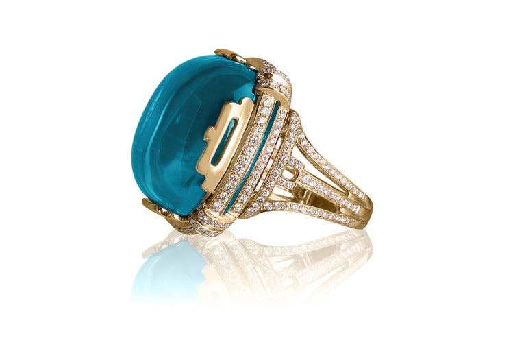 Goshwara Blue Topaz Crown Ring In New Condition For Sale In New York, NY