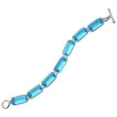 Goshwara Blue Topaz Cushion and Diamond Bracelet