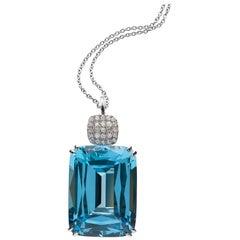 Goshwara Blue Topaz Cushion and Diamond Pendant