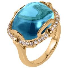 Goshwara Blue Topaz Cushion Cabochon And Diamond Ring