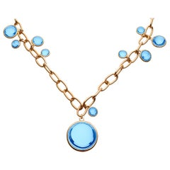 Goshwara Blue Topaz Disc with Oval Link Chain Necklace