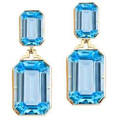 Goshwara Blue Topaz Double Emerald Cut Earrings