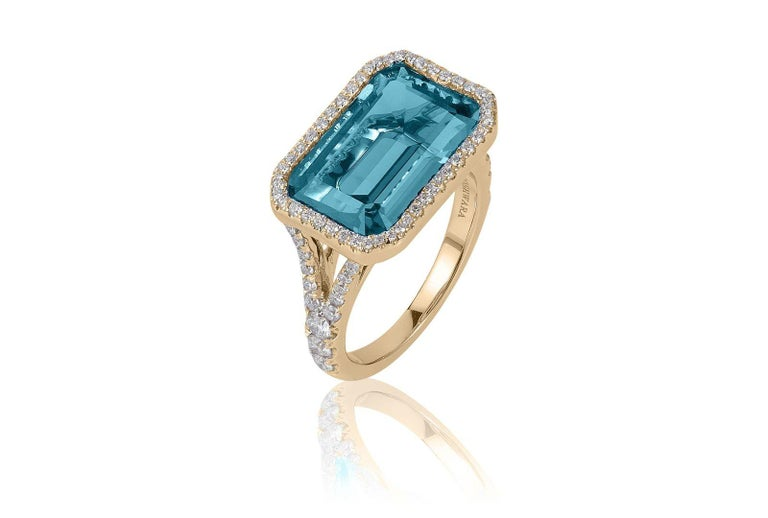 Contemporary Goshwara Blue Topaz East-West with Diamonds Emerald Cut Ring For Sale