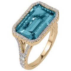 Goshwara Blue Topaz East-West with Diamonds Emerald Cut Ring
