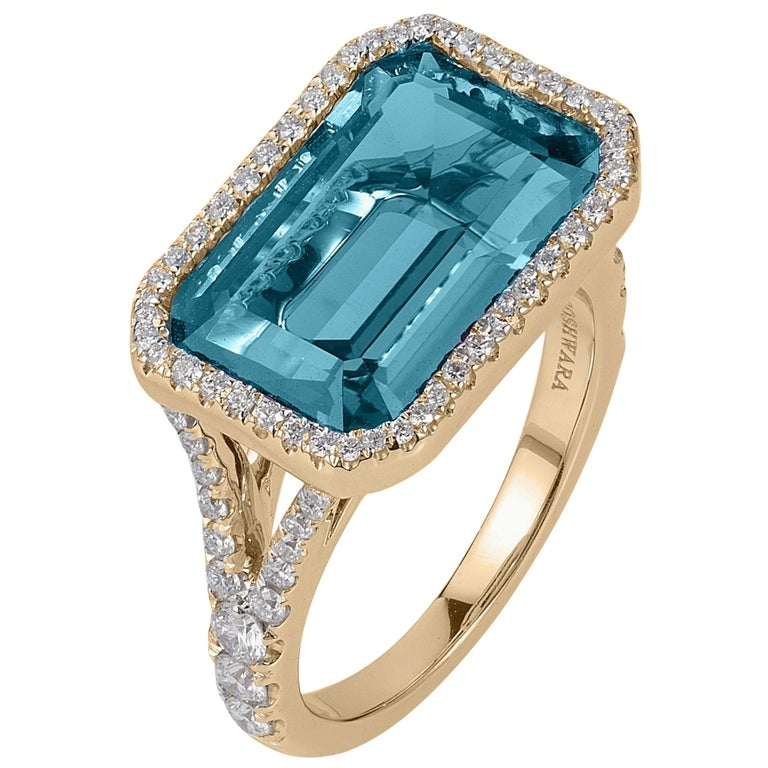 Goshwara Blue Topaz East-West with Diamonds Emerald Cut Ring For Sale