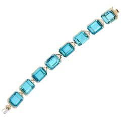 Goshwara Blue Topaz Emerald Cut and Diamond Bracelet