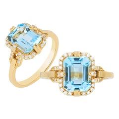 Goshwara Blue Topaz Emerald Cut and Diamond Ring