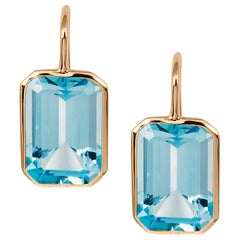 Goshwara Blue Topaz Emerald Cut Earrings