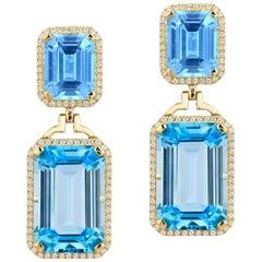 Goshwara Emerald Cut Blue Topaz  And Diamond Earrings