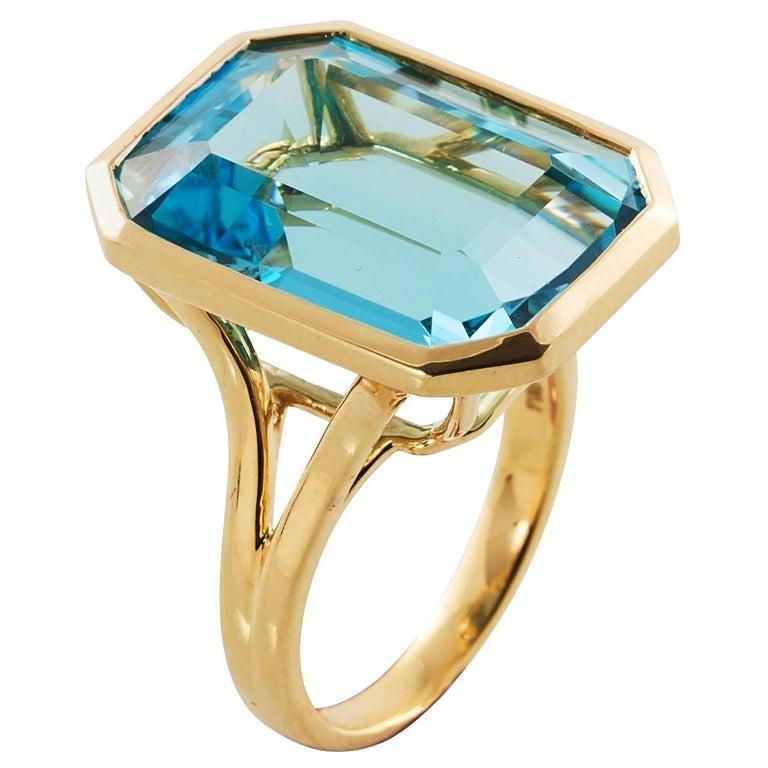 Goshwara Emerald Cut Blue Topaz Ring For Sale