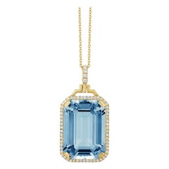 Goshwara Blue Topaz Emerald Cut with Diamonds Pendant