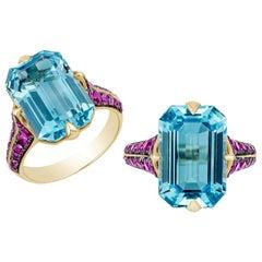 Goshwara Blue Topaz Emerald Cut with Pink Sapphire Ring