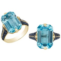 Goshwara Emerald Cut Blue Topaz And Sapphire Ring