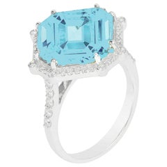 Goshwara Blue Topaz Octagon and Diamond Ring