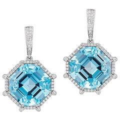 Goshwara Blue Topaz Octagon Danglers with Diamond Hoop Earrings