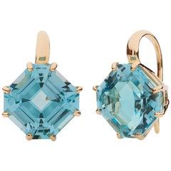 Goshwara Blue Topaz Square Emerald Cut Earrings
