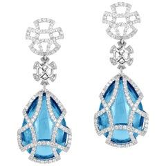 Goshwara Blue Topaz Teardrop and Diamond Earrings