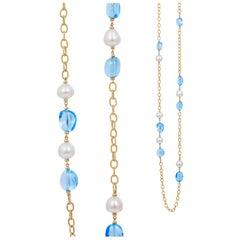 Goshwara Blue Topaz Tumbled Bead And Pearl Necklace