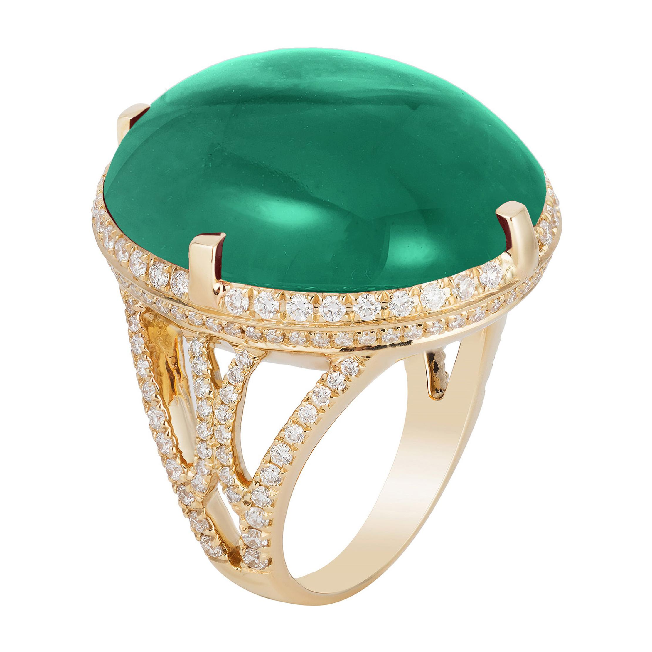 Goshwara Cabochon Emerald and Diamond Ring
