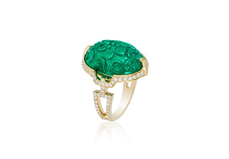 Carved Emerald Ring with Diamond in 18K Yellow Gold, from 'G-One' Collection   Stone size: 19.5 x 14.4 mm   Approx. gemstone Wt: 17.17 Carats   Diamonds: G-H / VS, Approx. Wt: 0.71 Carats