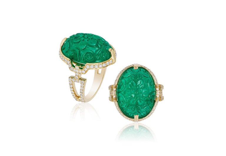 Oval Cut Goshwara Carved Emerald with Diamond Ring For Sale