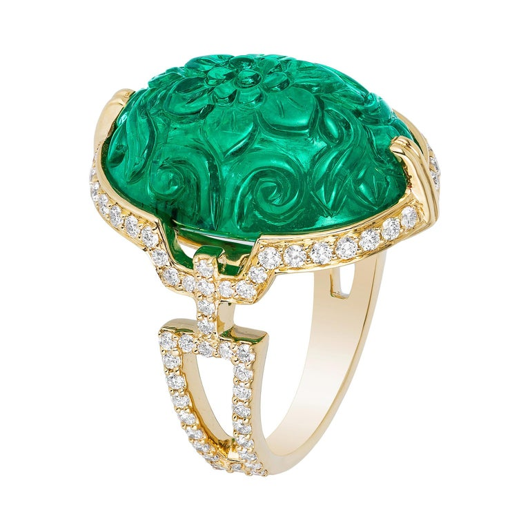 Goshwara Carved Emerald with Diamond Ring For Sale