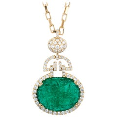 Goshwara Carved Oval Emerald and Diamond Pendant