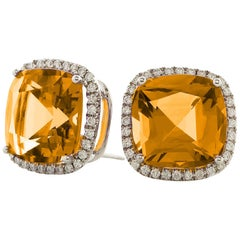 Goshwara Citrine and Diamond Stud Earrings