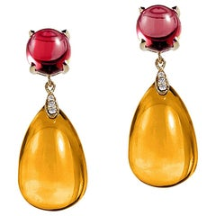 Goshwara Citrine and Garnet Cabochon Drop Earring