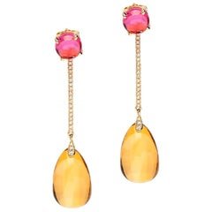 Goshwara Citrine Drop and Garnet Cabochon with Diamond Earrings