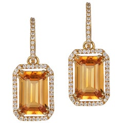 Goshwara Citrine Emerald Cut with Diamond Trim Earrings