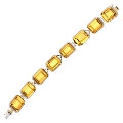 Goshwara Emerald Cut Citrine And Diamond Bracelet
